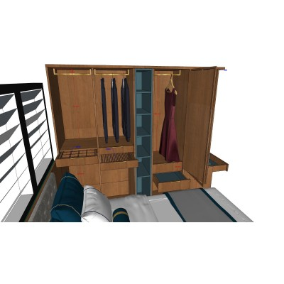 Floor bed with wardrobe